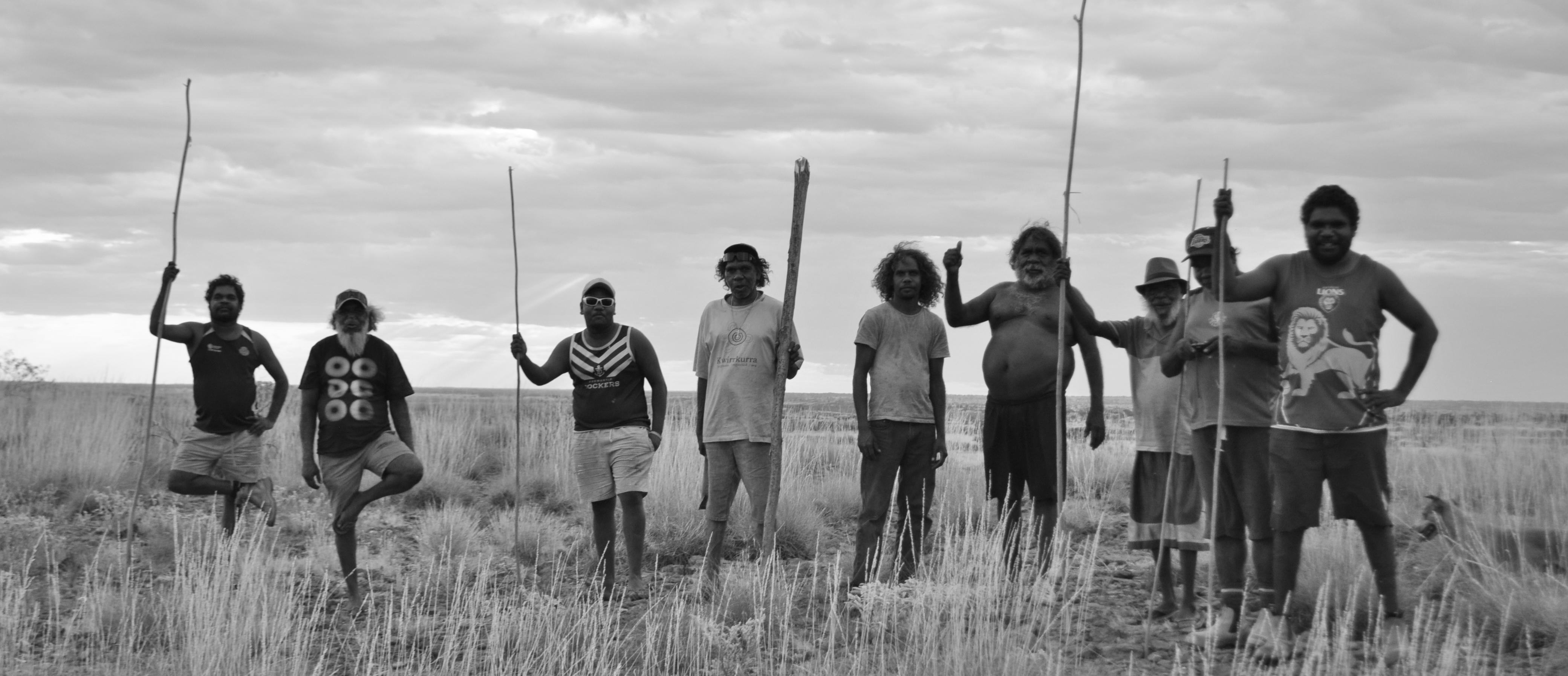 Kiwirrkurra men with their 'kulatas' (spears)